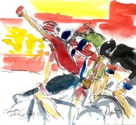 Cycling art, Tour de France, Watercolour painting Greipel wins! Stage 15 by Maxine Dodd