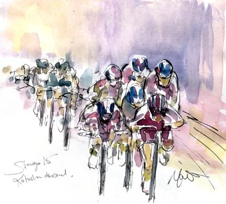 Cycling art, Tour de France, Watercolour painting Katusha descend, Stage 15 by Maxine Dodd
