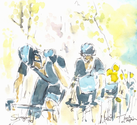 Cycling art, Tour de France, Watercolour painting Time to refresh, Stage 16, by Maxine Dodd