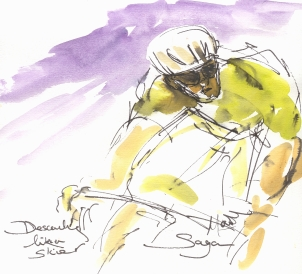 Cycling art, Tour de France, Watercolour painting Descending like a skier, Sagan, Stage 16, by Maxine Dodd