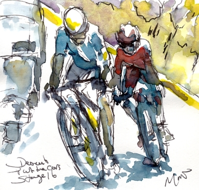 Cycling art, Tour de France, Watercolour painting Descent past the cars, Stage 16, by Maxine Dodd
