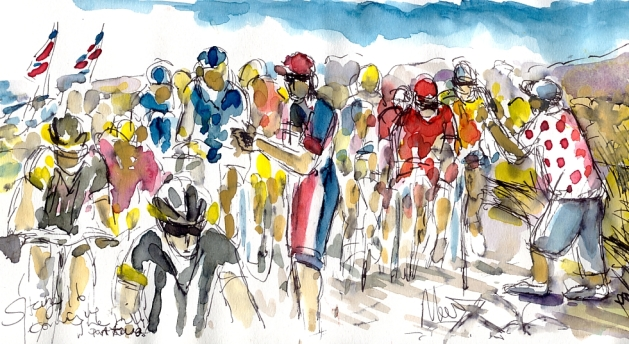 Cycling art, Tour de France, Watercolour painting Coming up the hill, part two, Stage 16, by Maxine Dodd