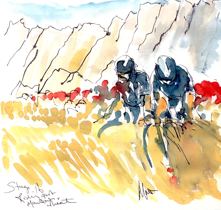Cycling art, Tour de France, Watercolour painting Riding past mountains and wheat, Stage 16, by Maxine Dodd