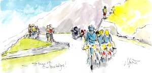 Cycling art, Tour de France, Watercolour painting On the edge! Stage 17, by Maxine Dodd