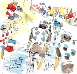 Cycling art, Tour de France, Watercolour painting Fans on the mountains! Stage 17, by Maxine Dodd