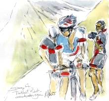 Cycling art, Tour de France, Watercolour painting Thibaut Pinot accelerates again! Stage 17, by Maxine Dodd