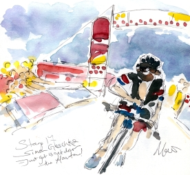 Cycling art, Tour de France, Watercolour painting Simon Geschke, just got to get down the mountain! Stage 17, by Maxine Dodd