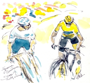 Cycling art, Tour de France, Watercolour painting Froome and Quintana, going all out, Stage 17, by Maxine Dodd
