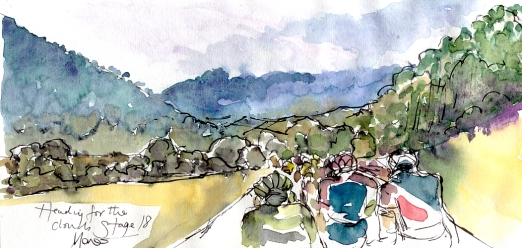 Cycling art, Tour de France, Watercolour painting Heading for the climbs, Stage 18, by Maxine Dodd