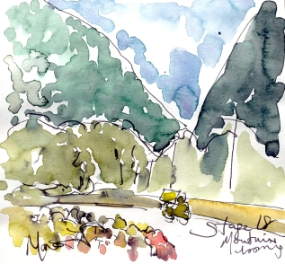 Cycling art, Tour de France, Watercolour painting Mountains looming, Stage 18, by Maxine Dodd