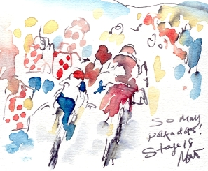Cycling art, Tour de France, Watercolour painting So many polka dots! Stage 18, by Maxine Dodd