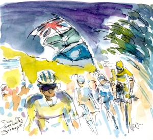 Cycling art, Tour de France, Watercolour painting The sun on their backs, Stage 18, by Maxine Dodd