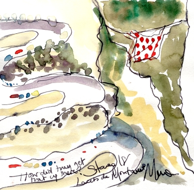 Cycling art, Tour de France, Watercolour painting How did they get that up there? Lacets de Montvernier, Stage 18, by Maxine Dodd