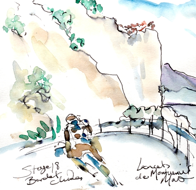 Cycling art, Tour de France, Watercolour painting Bardet climbs Lacets de Montvernier, Stage 18, by Maxine Dodd