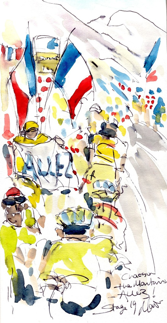 Cycling art, Tour de France, Watercolour painting Chaos on the mountains, Allez! Stage 19, by Maxine Dodd