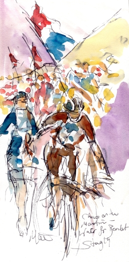 Cycling art, Tour de France, Watercolour painting Water for Bardet, Stage 19, by Maxine Dodd