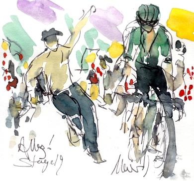 Cycling art, Tour de France, Watercolour painting Allez! Stage 19, by Maxine Dodd