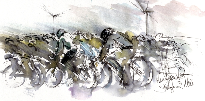 Cycling art, Tour de France, Watercolour painting Wet and windy! by Maxine Dodd