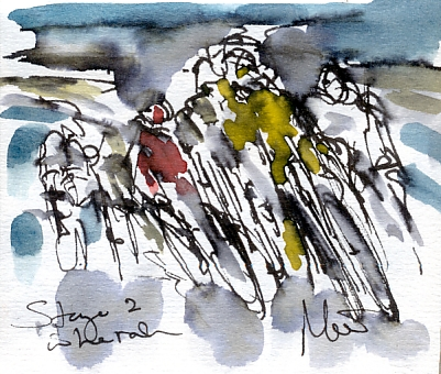 Cycling art, Tour de France, Watercolour painting Stage 2, In the rain by Maxine Dodd