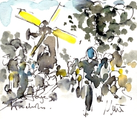 Cycling art, Tour de France, Watercolour painting Windmill by Maxine Dodd