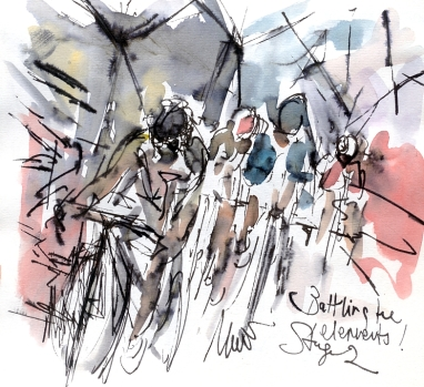 Cycling art, Tour de France, Watercolour painting Battling the elements! by Maxine Dodd