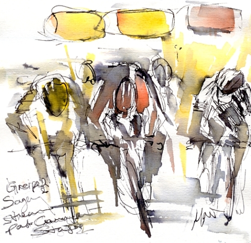 Cycling art, Tour de France, Watercolour painting Greipel, Sagan stream past Cavendish by Maxine Dodd