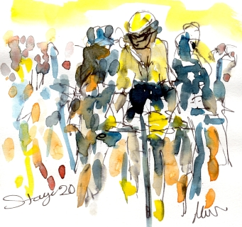 Cycling art, Tour de France, Watercolour painting Start of Stage 20, by Maxine Dodd