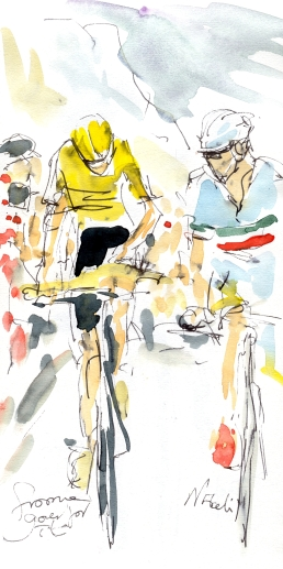 Cycling art, Tour de France, Watercolour painting Froome and Nibali go for it, Stage 20, by Maxine Dodd