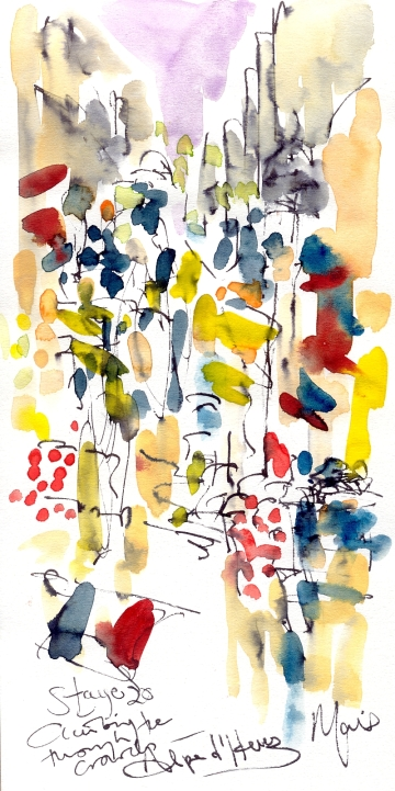 Cycling art, Tour de France, Watercolour painting, Climbing through the crowds, Stage 20, by Maxine Dodd
