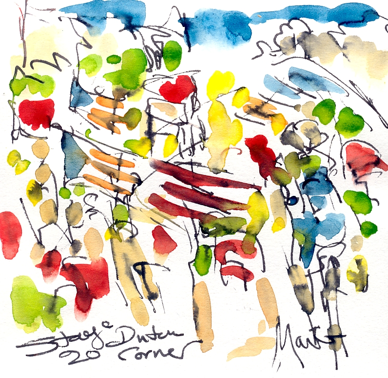 Cycling art, Tour de France, Watercolour painting, Dutch corner, Stage 20, by Maxine Dodd