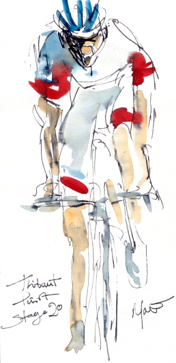 Cycling art, Tour de France, Watercolour painting Thibaut Pinot, Stage 20, by Maxine Dodd