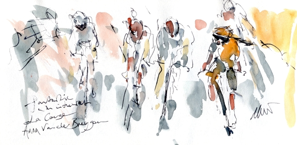 Cycling art, Tour de France, Watercolour painting, La Course, Anna van der Breggen, by Maxine Dodd