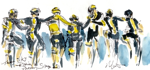 Cycling art, Tour de France, Watercolour painting Team Sky riding to victory, Stage 21 by Maxine Dodd