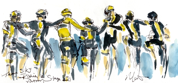 Team Sky riding to victory, Stage 21 by Maxine Dodd