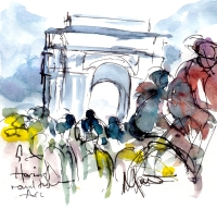 Cycling art, Tour de France, Watercolour painting Haring round the Arc, Stage 21 by Maxine Dodd