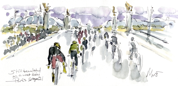 Cycling art, Tour de France, Watercolour painting Still beautiful on a wet day, by Maxine Dodd