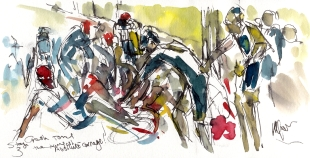 Cycling art, Tour de France, Watercolour painting Absolute carnage, by Maxine Dodd