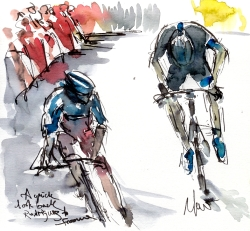 Cycling art, Tour de France, Watercolour painting A quick look back, Rodriguez and Froome by Maxine Dodd, RESERVED