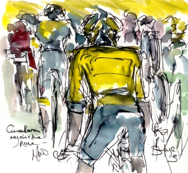 Cycling art, Tour de France, Watercolour painting Cancellara rejoins the race, by Maxine Dodd