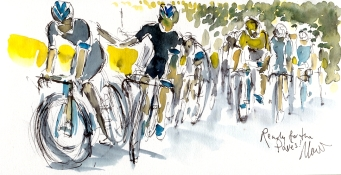 Cycling art, Tour de France, Watercolour painting Ready for the Pavés by Maxine Dodd