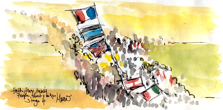 Cycling art, Tour de France, Watercolour painting Flags, fields, people, pavés, dust and bikes! by Maxine Dodd