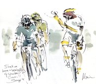 Cycling art, Tour de France, Watercolour painting Shall we have a breakaway of sprinters? C'mon! by Maxine Dodd