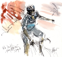 Cycling art, Tour de France, Watercolour painting At last! Tony Martin, Stage 4 by Maxine Dodd