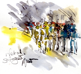 Cycling art, Tour de France, Watercolour painting Wet Stage 5, by Maxine Dodd
