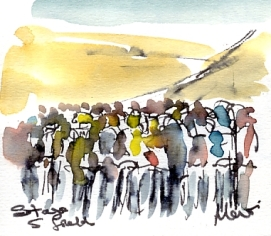 Cycling art, Tour de France, Watercolour painting Stage 5 Field, by Maxine Dodd, watercolour, pen and ink