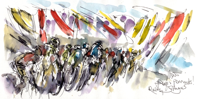 Cycling art, Tour de France, Watercolour painting Flags, pennants, rain, Stage 5, by Maxine Dodd