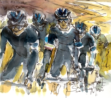 Cycling art, Tour de France, Watercolour painting Team Sky, Shoulders to the wheel, by Maxine Dodd