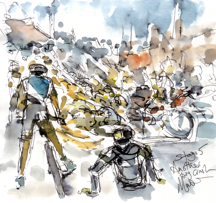 Cycling art, Tour de France, Watercolour painting Another big crash, by Maxine Dodd