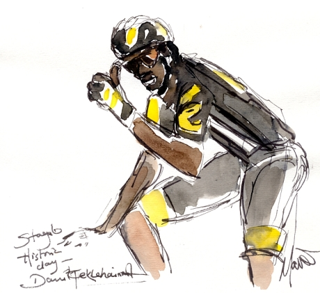 Cycling art, Tour de France, Watercolour painting Historic day, Daniel Teklehaimanot, by Maxine Dodd