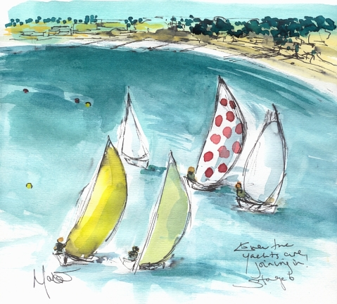 Cycling art, Tour de France, Watercolour painting Even the yachts are joining in! by Maxine Dodd